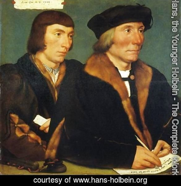 Hans, the Younger Holbein - Portrait of Thomas Goldsalve and His Son John