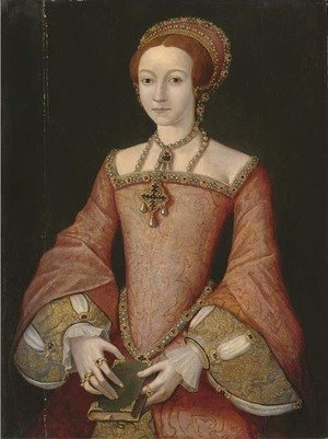 Portrait of Elizabeth when a princess, three-quarter-length, in a red jewelled dress, the bible in her hands
