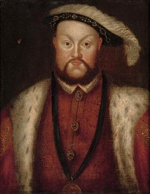 Portrait of Henry VIII (1491-1547), half-length, with a jewelled tunic and chain