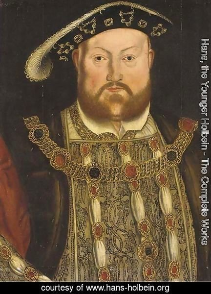 Portrait of Henry VIII (1491-1547), half-length, with a jewelled tunic and chain 2