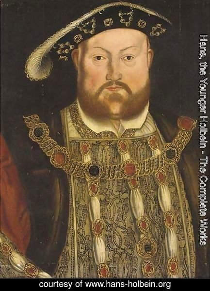 Hans, the Younger Holbein - Portrait of Henry VIII (1491-1547), half-length, with a jewelled tunic and chain 2