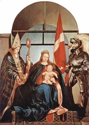 Hans, the Younger Holbein - Gerster-altar scene Enthroned Madonna, left St. Nicholas of Myra, on the right St. Ursus