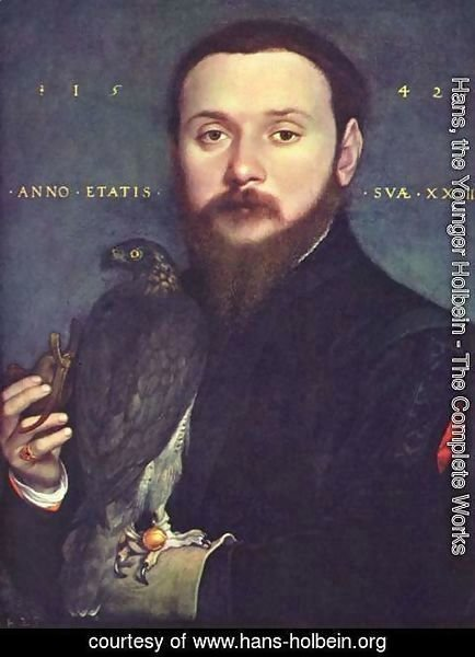 Hans, the Younger Holbein - Portrait of a gentleman with a falcon