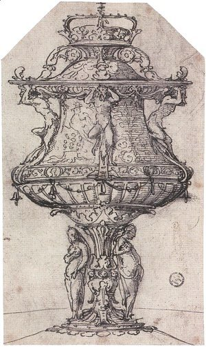 Hans, the Younger Holbein - Design for a Table Fountain with the Badge of Anne Boleyn