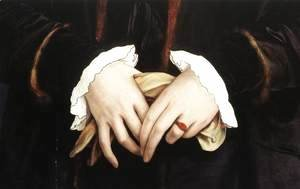 Hans, the Younger Holbein - Christina of Denmark, Ducchess of Milan (detail) 1538