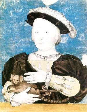 Hans, the Younger Holbein - Edward, Prince of Wales, with Monkey 1541-42