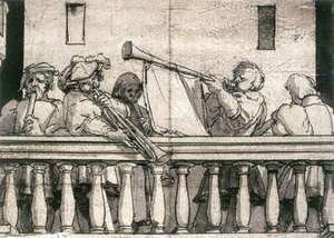 Hans, the Younger Holbein - Musicians on a Balcony c. 1527