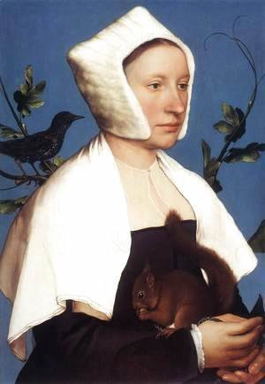 Hans, the Younger Holbein - Portrait of a Lady with a Squirrel and a Starling 1527-28