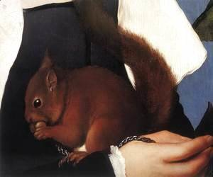 Hans, the Younger Holbein - Portrait of a Lady with a Squirrel and a Starling (detail) 1527-28