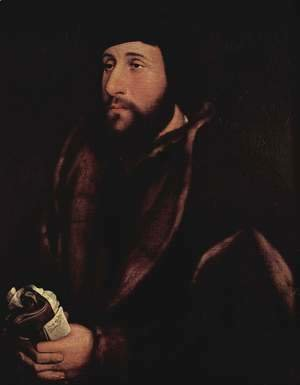 Hans, the Younger Holbein - Portrait of a Man Holding Gloves and Letter c. 1540