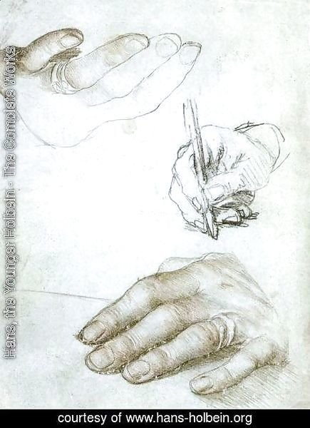 Hans, the Younger Holbein - Studies of the Hands of Erasmus of Rotterdam c. 1523